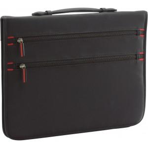 A/4 cipzáras, gyűrűs mappa számológéppel, 70D nylon, fekete