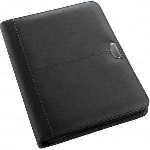 DIPLOMAT A/4 cipzáras bőr mappa jegyzettömbbel, fekete